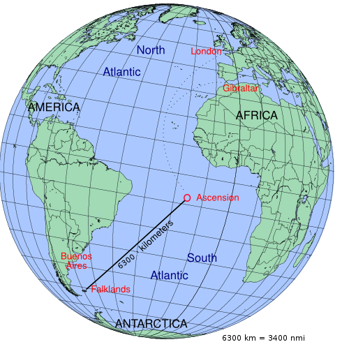 The distance involved in the Operation Black Buck bombing missions from Ascension Island to the Falkland Islands.