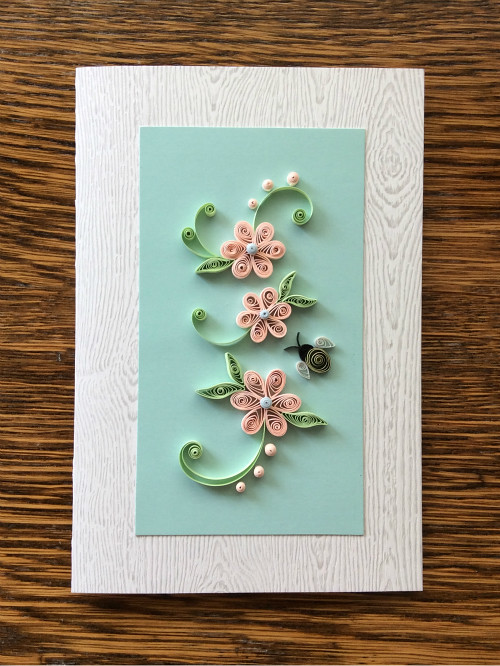 Quilled Floral Card with Bumble Bee
