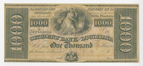 Citizens' Bank of Louisiana $1000 note