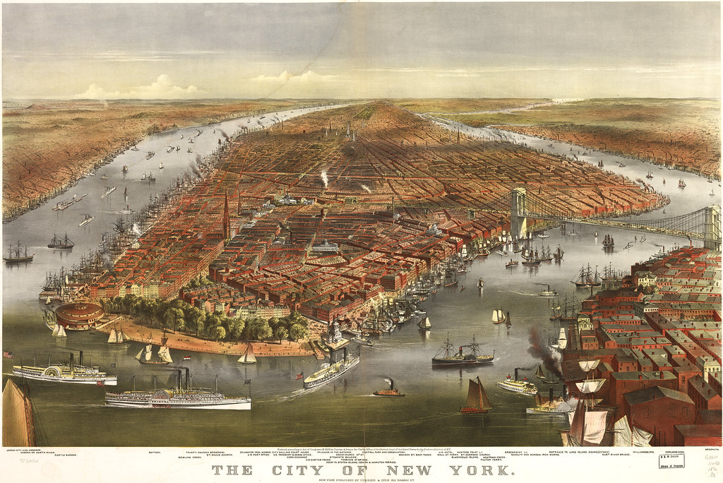 The city of New York, published Currier & Ives, 1870.