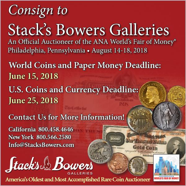 Stacks-Bowers E-Sylum ad 2018-04-22 consign