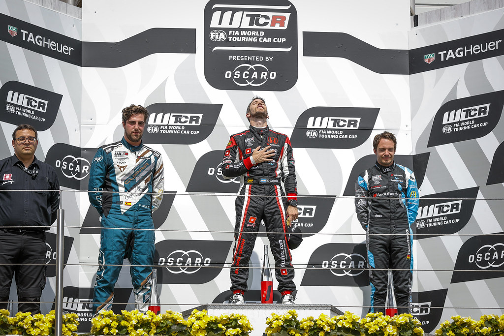 Podium. GUERRIERI Esteban (ARG), ALL-INKL.COM Munnich Motorsport, Honda Civic  TCR, ORIOLA Pepe (ESP), Team Oscaro by Campos Racing, Cupra TCR, VERVISCH Frederic (BEL), AUDI Sport Team COMTOYOU, Audi RS3 LMS, portrait during the 2018 FIA WTCR World Touring Car cup of Nurburgring, Nordschleife, Germany from May 10 to 12 - Photo Florent Gooden / DPPI