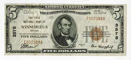 First NB of Winnemucca $5 National Bank Note