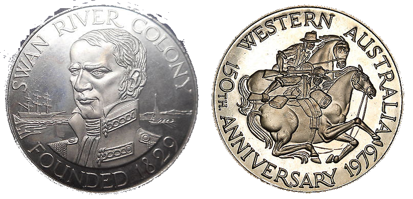 Medal released in 1979 to commemorate the 150th anniversary of the Swan River Colony and Western Australia.