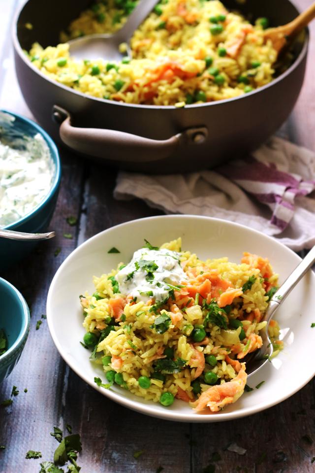 Smoked Salmon and Curried Rice Bowls with Cucumber Raita