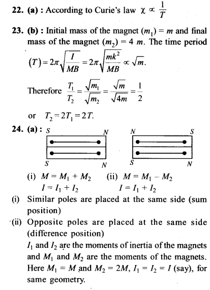 NEET AIPMT Physics Chapter Wise Solutions - Magnetism and Matter explanation 22,23,24