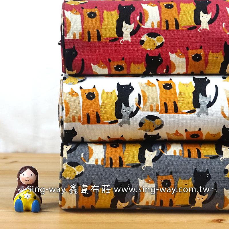 鄰家小貓 貓 可愛動物 貓咪 童趣 喵喵家族 貓咪好朋友 手工藝DIy拼布布料 CF550664