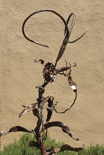 """Spiraling"" by Ira Wiesenfeld in the Arizona Blacksmiths Exhibit at Tucson Botanical Gardens"