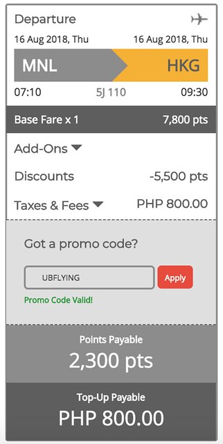 Manila to Hong Kong GetGo Points Sale August 16, 2018