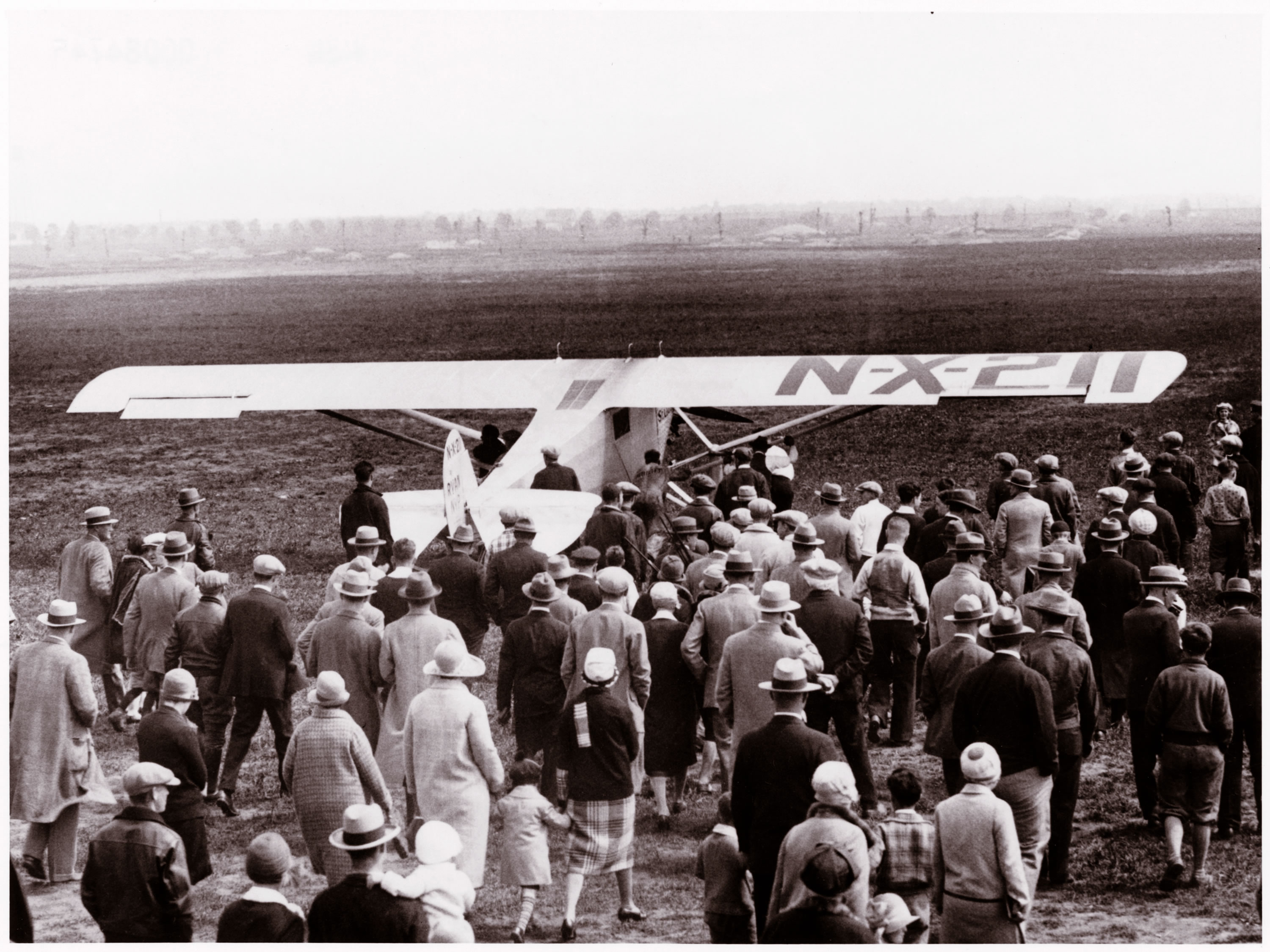 Sprit of Stl. Louis, piloted by Charles Lindbergh at Roosevelt Airfield, Long Island NY, May 20, 1927