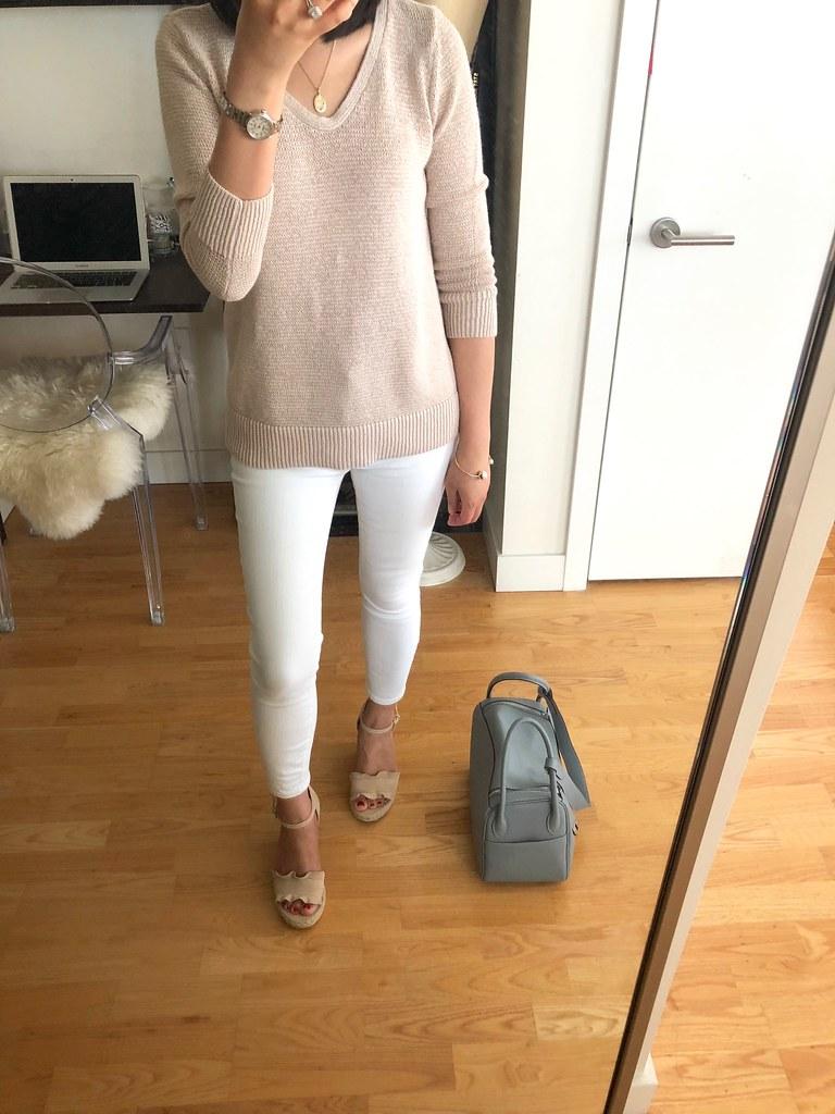 LOFT Textural V-Neck Sweater, size XSP