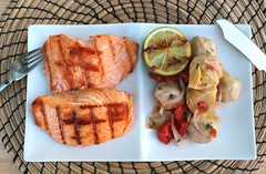 GRILLED SALMON WITH ARTICHOKES, RED ONIONS & TOMATOES MARINATED IN RASPBERRY VINAIGRETTE