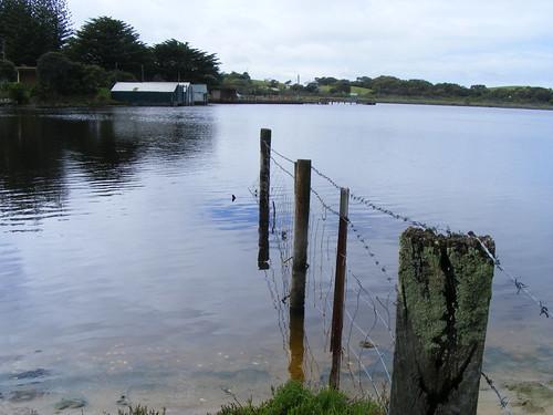 glenelgriver nelson victoria fence water estuary boatshed fujifinepixs5800 barbedwirefence
