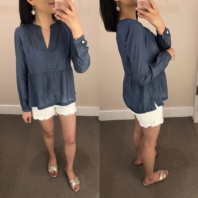 LOFT Chambray Split Neck Peplum Blouse, size XSP