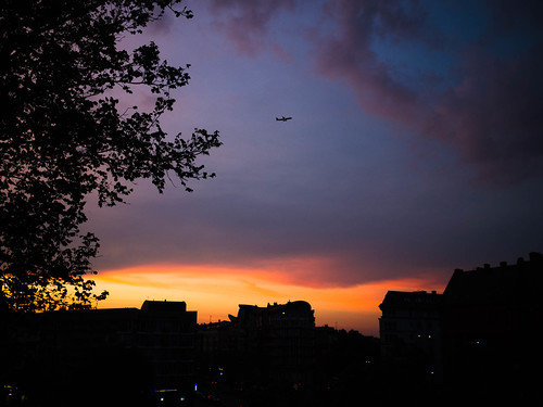 134 Sunset, clouds and a plane