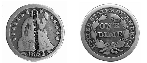 Dr. E. Osgood counterstamp on 1854 dime