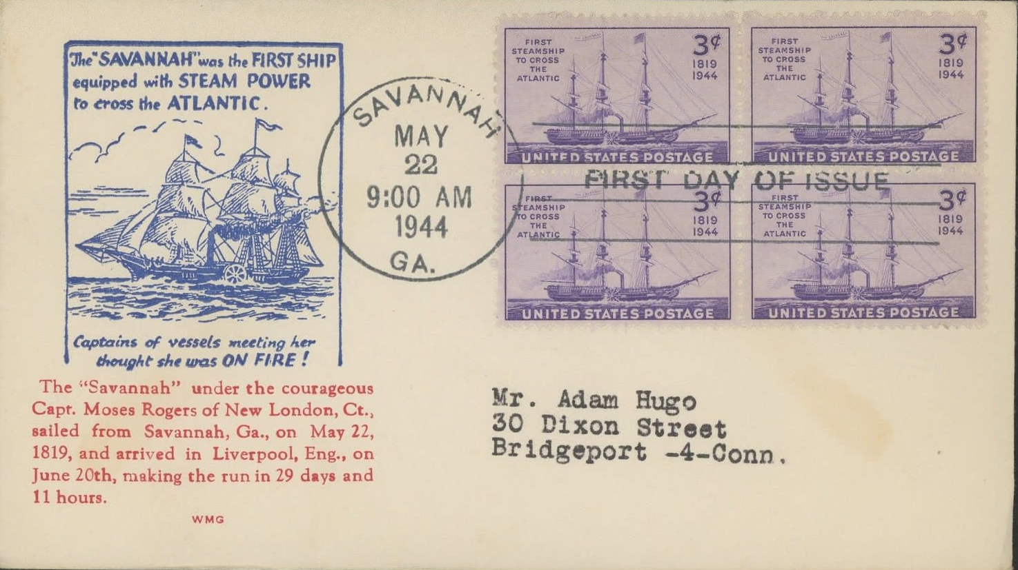 United States - Scott #923 (1944) - first day cover, Savannah, Georgia