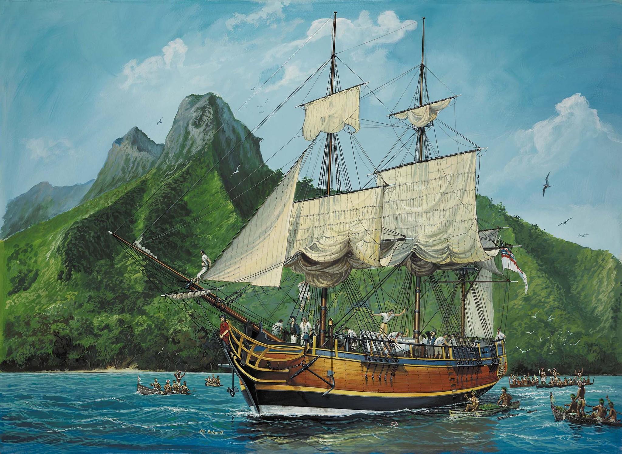 HMAV Bounty landing at Tahiti.