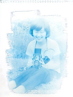 Cyanotype print successfully made on an old enlarger (Lucky II-C ) >> directly from a 120 negative film <<. This was made without conventional contact printing and digital processing.