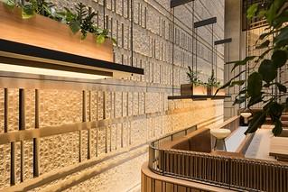 161 Collins St, Melbourne - GB Veneer split face in colour Porcelain and Architec Honed 1083 block in colour Alabaster
