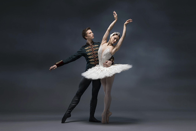 Marianela Nuñez as Odette/Odile and Vadim Muntagirov as Prince Siegfried in Swan Lake (The Royal Ballet, 2018). Concept image by AKA (© ROH, 2018)
