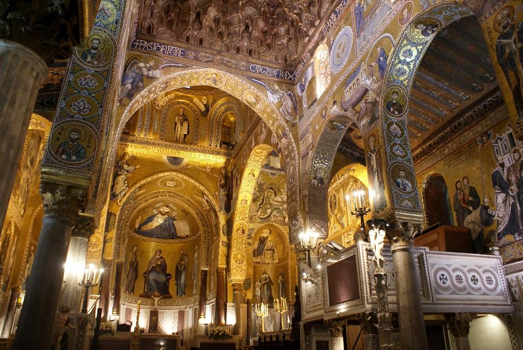 Vue d'ensemble sur la chapelle palatine de Palerme.