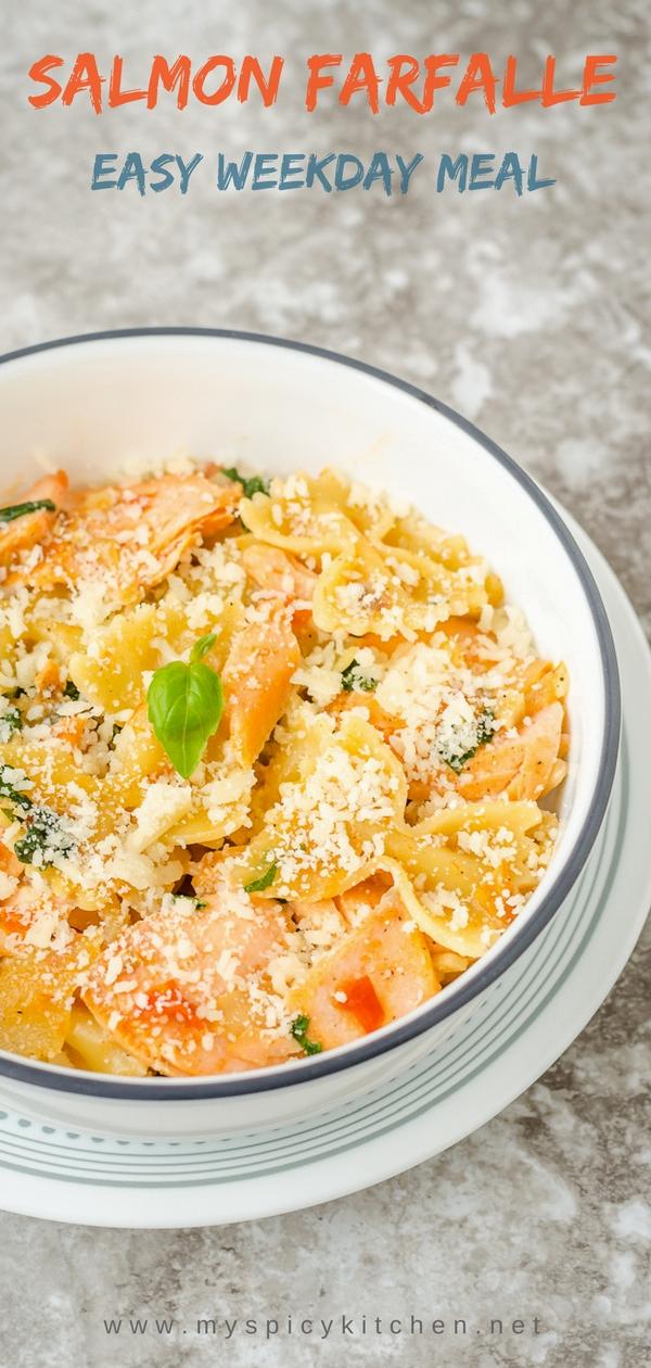 fish pasta in a creamy tomato sauce