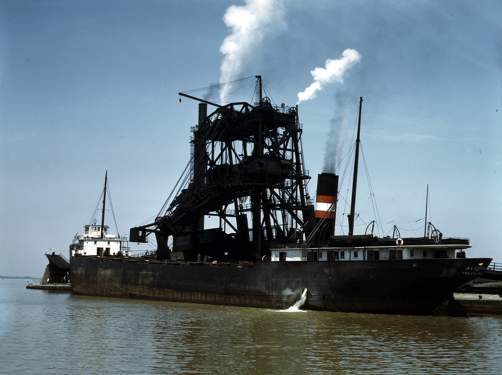Loading coal into a freighter at one of the Pennsylvania Railroad docks, Sandusky, Ohio. 1943 May