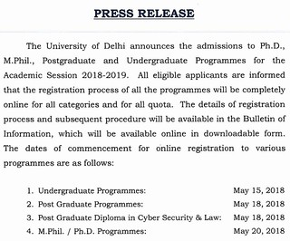 Read DU admisison 2018 Notification