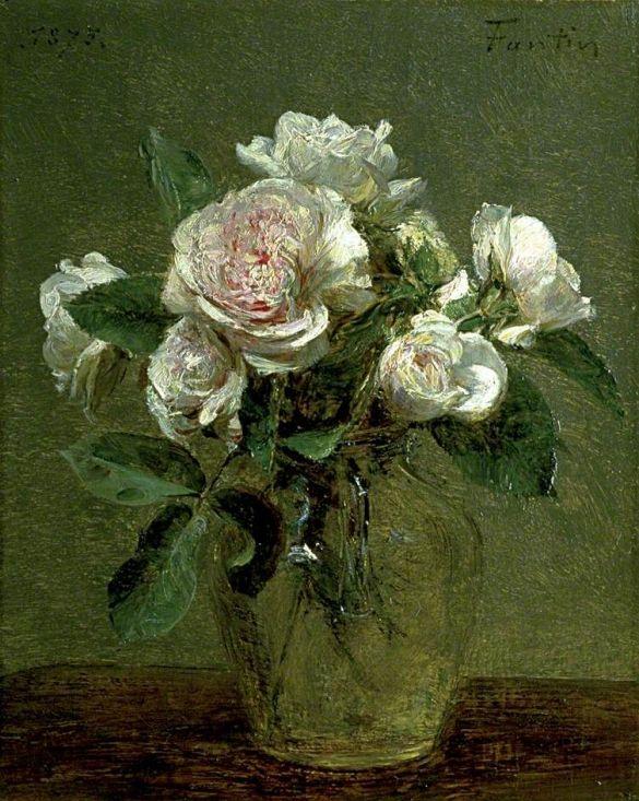 HenriFantin-LatourWhiteRosesInAGlassVase1875