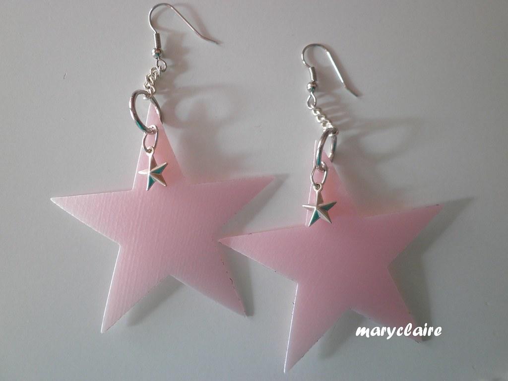 orecchini stella grande rosa