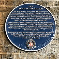 Photo of Blackfriars Station and flying bomb (V1/V2) blue plaque
