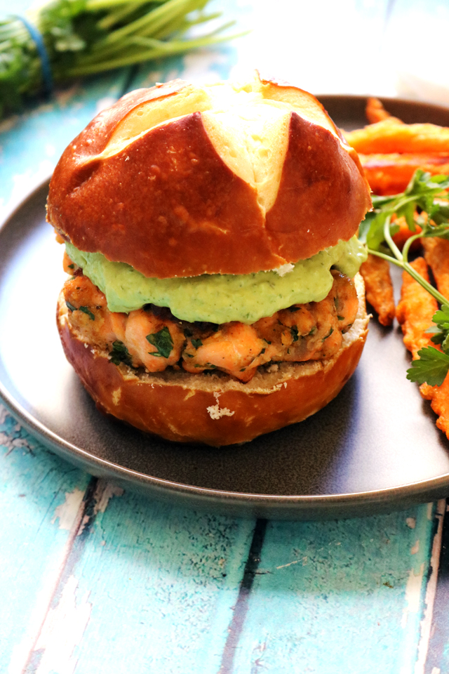 Green Goddess Salmon Burgers