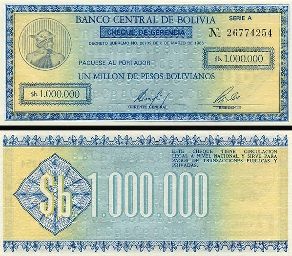 1 000 000 Pesos Bolivianos Bolívia 1984, P190