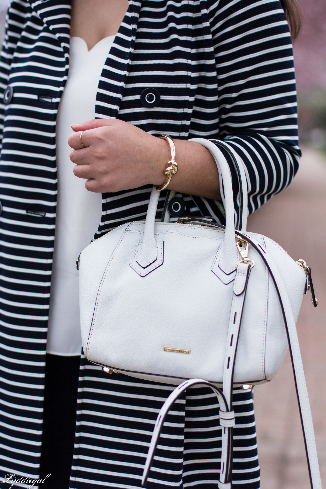 Striped trench, scalloped cami, navy pants