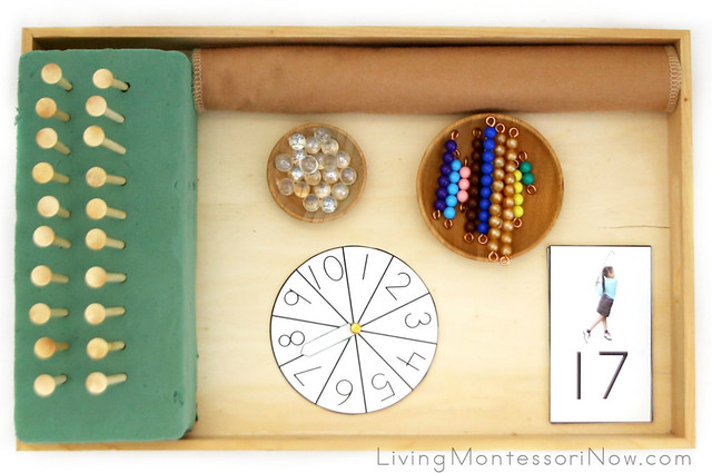 Tray for Matching Teen Numerals with Golf Tees, Marbles, and Bead Bars