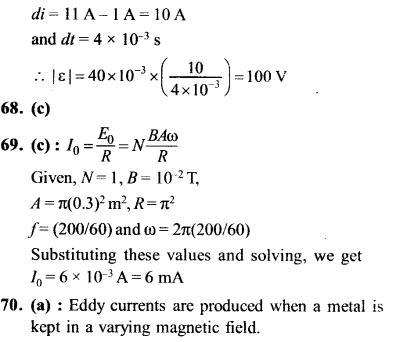 NEET AIPMT Physics Chapter Wise Solutions - Electromagnetic Induction and Alternating Current explanation 67.1,68,69,70