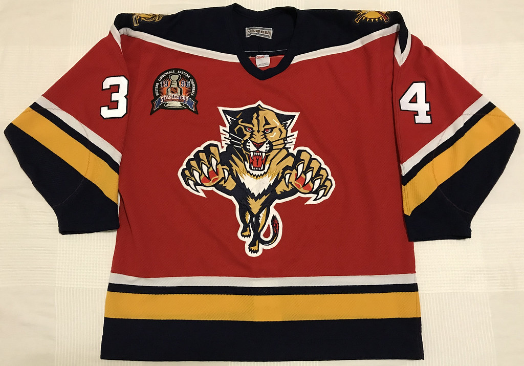 1995-96 John Vanbiesbrouck Florida Panthers Away Jersey Front