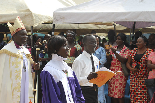 The procession of clergy leave All Saints Cathedral Juba at the end of the six-hour service