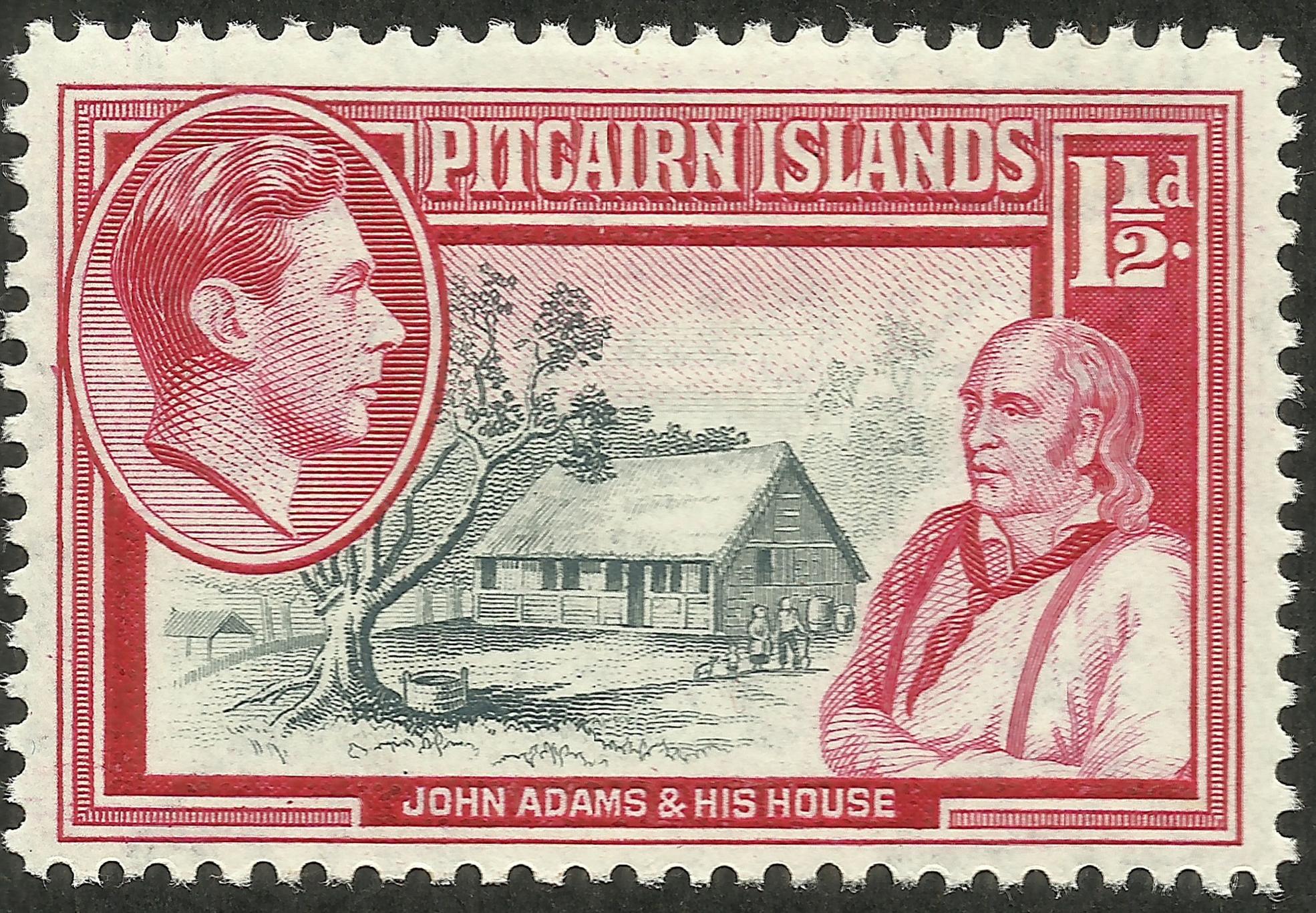 Pitcairn Islands - Scott #3 (1940). John Adams and his house on Pitcairn.