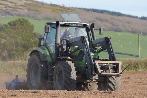 Deutz Fahr Agrotron M620 Tractor with a Lemken Power Harrow