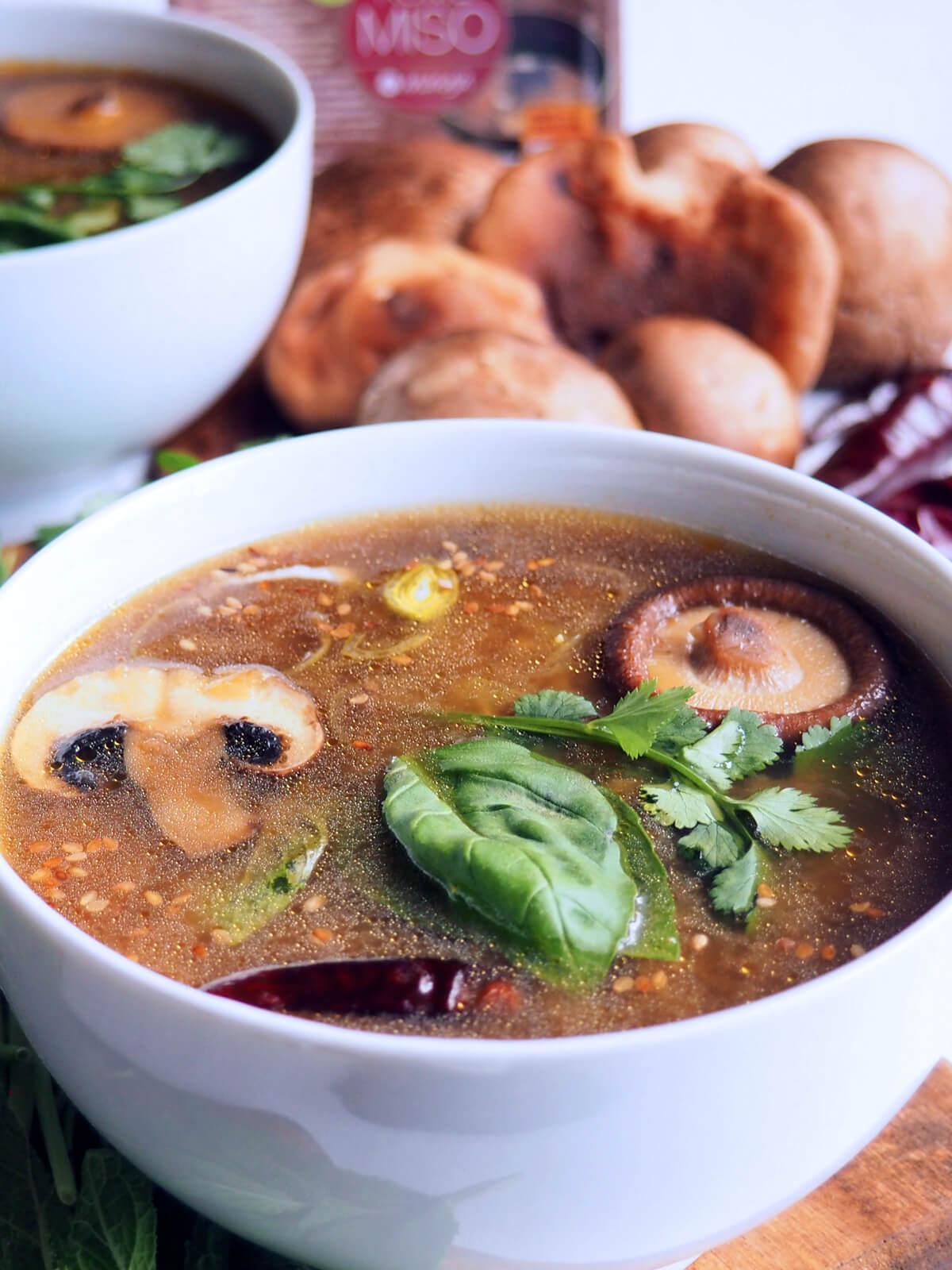 Sopa de champiñones portobello