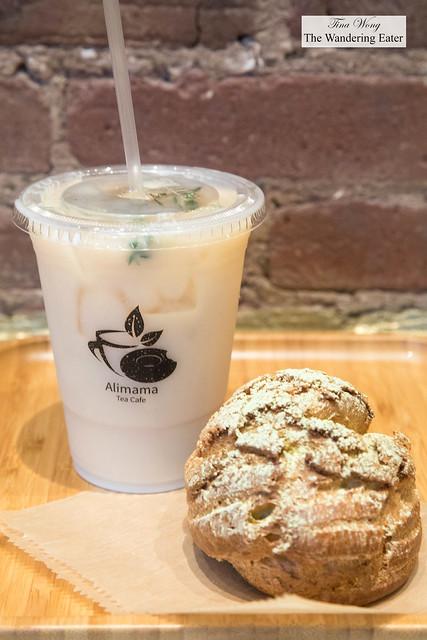Iced Earl grey lavender tea with yuzu cream puff