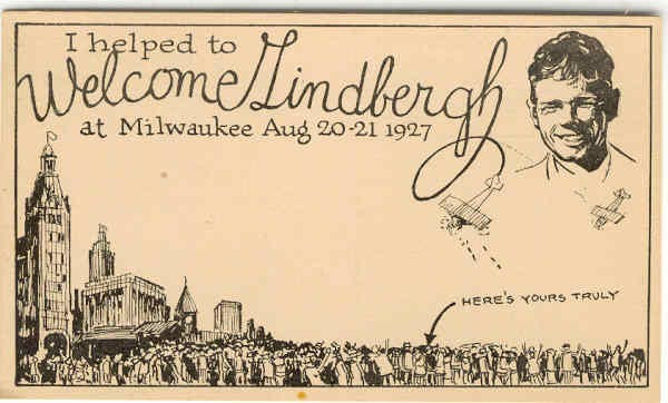 Volunteer helper's card from the August 20-21, 1927, visit to Milwaukee, Wisconsin, by Charles Lindbergh.