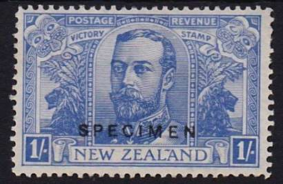 New Zealand 1920 color trial for the 1-shilling Victory stamp in blue with SPECIMEN overprint. Image from the Virtual New Zealand Stamps blog.