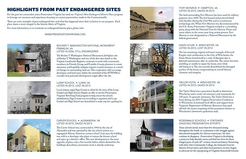 Examples, (Historic) Preservation Virginia infographic on Most Dangered Properties list
