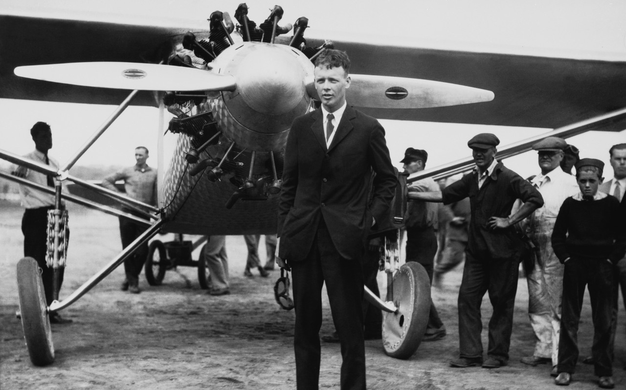 Charles Lindbergh and the Spirit of St. Louis. Unknown date and city.