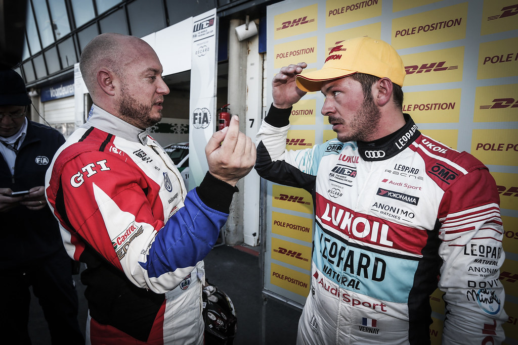 HUFF Rob, (gbr), Volkswagen Golf GTI TCR team Sebastien Loeb Racing, portrait, VERNAY Jean-Karl, (fra), Audi RS3 LMS TCR team Audi Sport Leopard Lukoil, portrait during the 2018 FIA WTCR World Touring Car cup of Zandvoort, Netherlands from May 19 to 21 - Photo Jean Michel Le Meur / DPPI