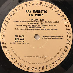 RAY BARRETTO:LA CUNA(LABEL SIDE-A)