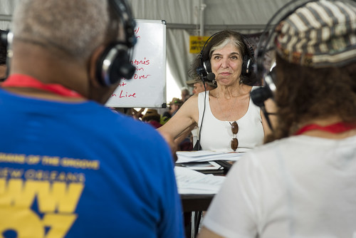 Marcia Ball on air at Jazz Fest day 5 on May 4, 2018. Photo by Ryan Hodgson-Rigsbee RHRphoto.com